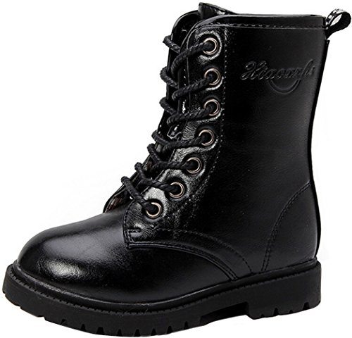 PPXID Boy's Girl's Waterproof Lace-Up Side Zipper Mid Calf Combat Boots - stylishcombatboots.com