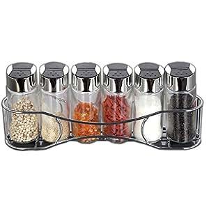 Glass Cruet Set Metal Stand in Silver Salt, Pepper,Sugar