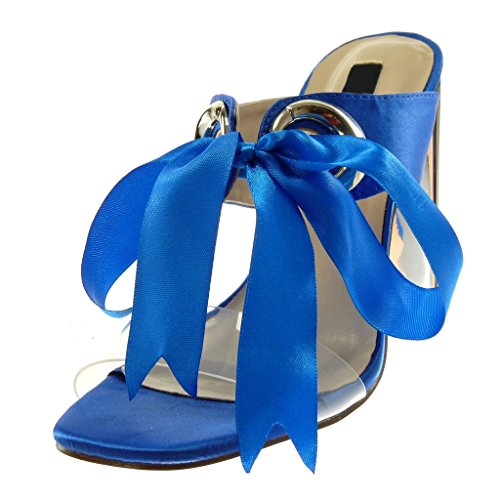 Angkorly Damen Schuhe Mule Pumpe - Slip-On - Bi-Material - Knoten - Schnürsenkel Aus Satin - Transparent Blockabsatz High Heel 11 cm elektrisches Blau