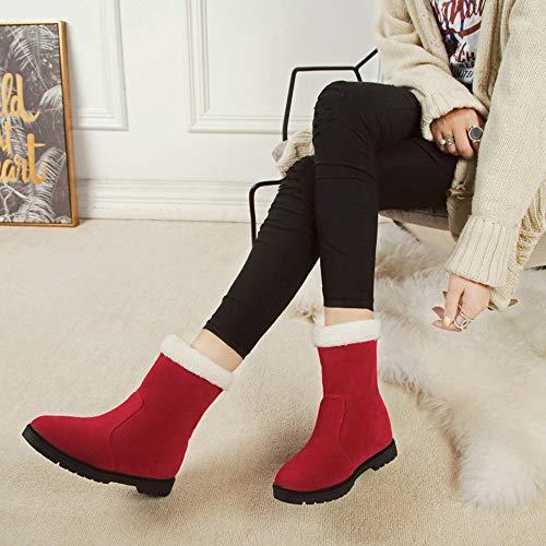 Shoes Bottes Bottines Fourrées Fourrure Binggong Cuir Verni En Plat Neige Automne Neige Chaussures Boots De Noël Confortables Antidérapant Soft Femmes Rouge Femme Hiver wpAwP