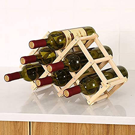 KUMOPYU Estante De Vino De Madera Maciza Estante De Vino De Pino Estante De Vino De Madera Plegable Creativo Decoración De Botellas De Vino De Múltiples Capas Decoración Al Horno Color Tres Vinotecas