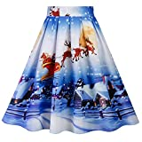 WOCACHI Final Clear Out Christmas Skirts Womens Xmas Vintage A-line High Waist Swing Pleated Skirt Midi Mini Bodycon Floral Knee Length Santa Claus Evening Party Cocktail (Light Blue, XX-Large)