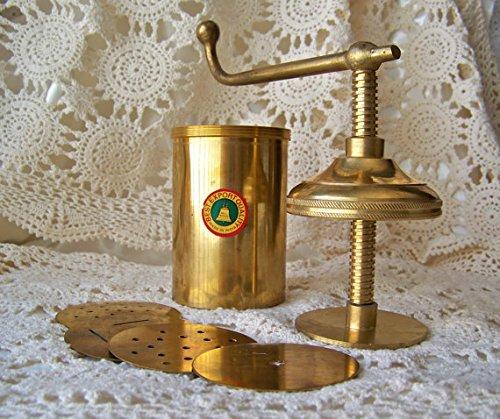 - Damini Export Quality Brass Kitchen Press Bhujia Maker Sev Sancha Gathiya With Set of 4 Jali Designs Different Design Size No. 8 Heavy Quality