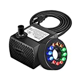 BestFire® 90 GPH (350L/H, 5W) Submersible Water Pump, Ultra Quiet Fountain Water Pump with 5.9ft Power Cord, 12 Colorful LEDs, 2 Nozzles for Fish Tank, Aquarium, Fountain, Pond