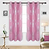 Deconovo Solid Grommet Curtains Window Blackout Curtains Foil Print Floral Blackout Drapes For Kids Room 42x84 Inch Pink Two Panels