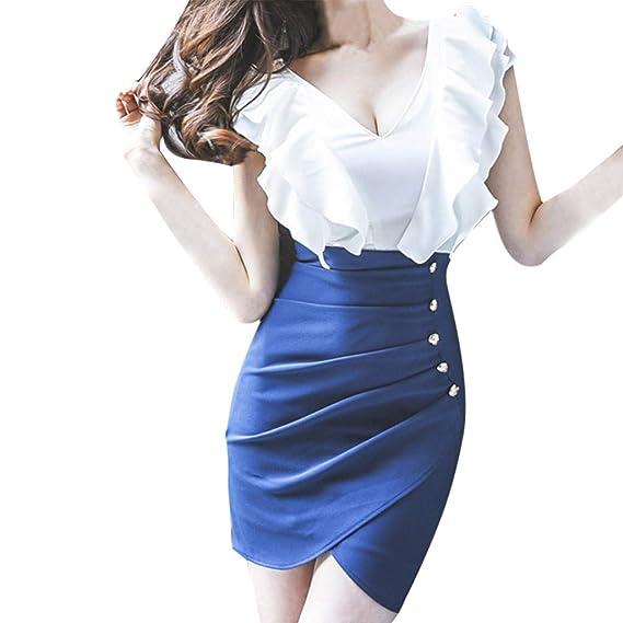 YGbuy-Las Mujeres De La Moda Sexy con Cuello En V BotóN con ...