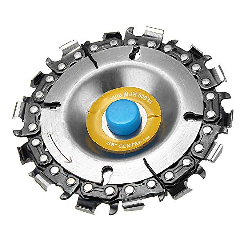 Grinder Attachment - 4 Inch Grinder Chain Disc 14 Tooth 5/8 Inch Arbor Wood Carving Disc For 100/115 Angle Grinder