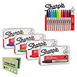 Sharpie Permanent Markers Kit, Fine Point   1 Dozen Black Ink, 1 Dozen Red Ink, 1 Dozen Blue Ink, 1 Dozen Green Ink, and 12 Assorted Color Markers (60 Markers)   Includes 5 Color Bright Flag Set