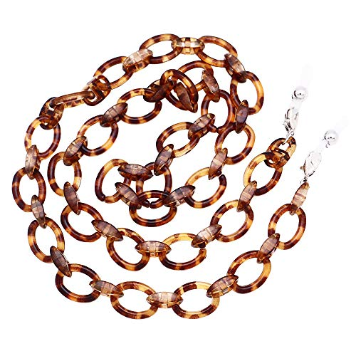 Chain Shell - KAI Top Handmade Retro Tortoise Shell Eyeglass Chain, Acetate Chain Link Sunglasses Holder Necklace Eyewear Retainer Lanyard (Tortoise shell)