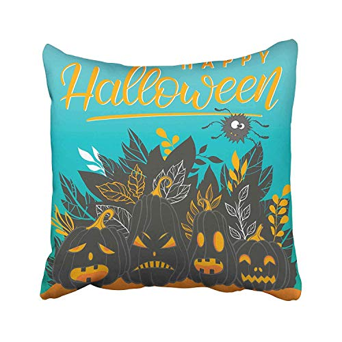 Cellcardphone Halloween Lettering with Angry Pumpkins Spider and Leaves Perfect Flyers Greeting Congratulations Throw Pillow Covers for Home Indoor Comfortable Cushion Standard Size 18x18 in -