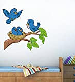 Decals Design 'Birds Feeding' Wall Sticker (PVC Vinyl, 70 cm x 50 cm),Multicolour