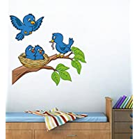 Decals Design 'Birds Feeding' Wall Sticker (PVC Vinyl, 70 cm x 50 cm),Multicolour
