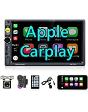 Apple Carplay Double Din Car Stereo, Rimoody 7 Inch Touchscreen Car Radio with Bluetooth FM Mirror Link TF/USB/AUX Remote SWC Car Multimedia Player + Backup Camera