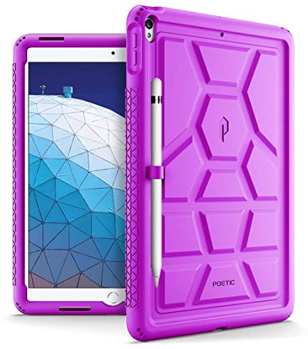 iPad Air 3 Case (10.5 Inch, 2019), iPad Pro 10.5 Case, Poetic Heavy Duty Shockproof Kids Friendly Silicone Case Cover with Apple Pencil Holder, Corner Protection, Sound-Amplification Feature Purple