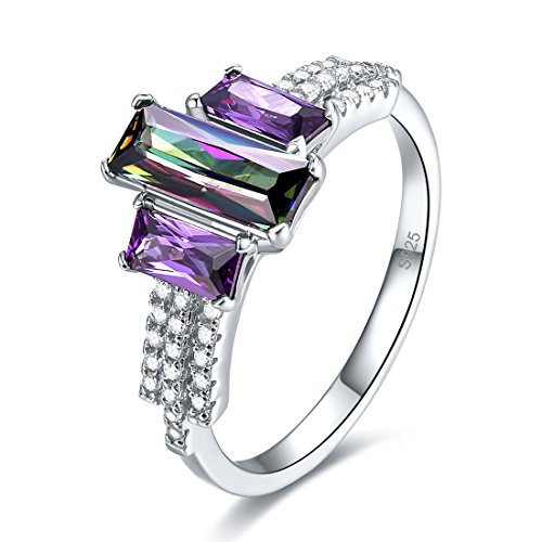 Merthus 925 Sterling Silver Band Created Rainbow Topaz 3 Stone Ring for Women Size 9