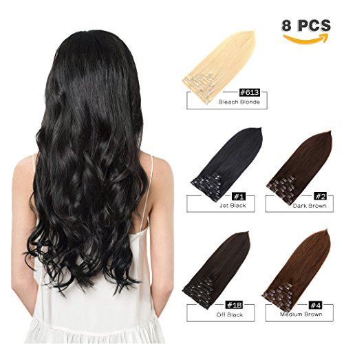 r Extensions Human Hair for Black Women Beauty - Long Silky Straight 8pcs 20clips Real Human Hair Clip in Extensions (18 inch 100g #1B Natural Black) ()