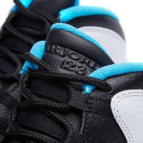 Nike Air Jordan 10 Retro Big Kids Style Bianco / Nero Polvere Blu-nero