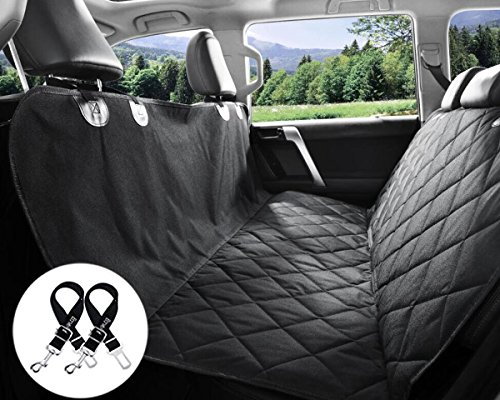 Bonve Pet Dog Seat Cover – Waterproof Pets Car Seat Covers Liner – with 2 Adjustable Pet Car Seats Safety Belts Best Dog Hammock Bench Protector for Cars, SUV, Truck Backseat