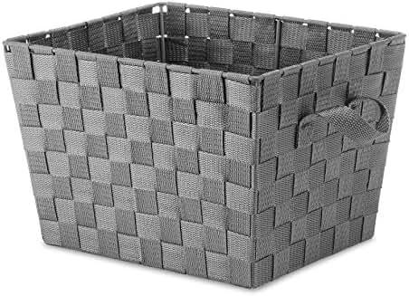 Whitmor Small Woven Strap Storage Tote, Gray/Grey