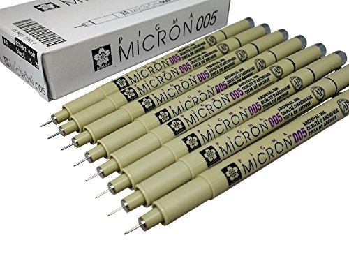 Sakura Pigma Micron pen 005 Black ink marker felt tip pen, Archival pigment ink, fine point for artist drawing pens - 8 pen set