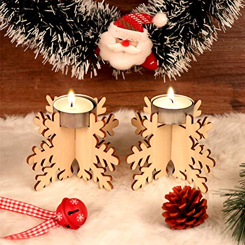 Wmbetter Set of 12 Holiday Centerpiece Wooden Snowflake Tealight Holder DIY Candle Holder for Christmas Decoration Seasonal &Festival Celebration