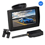 "AUTO-VOX W1 Wireless Backup Camera Kit 4.3"" LCD Monitor+ IP 68 Waterproof Rear View License Plate Reverse Back up Car Camera with LED Super Night Vision for Cars,Truck,Van,Caravan,Trailers,Camper"