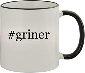 #griner - 11oz Ceramic Colored Rim & Handle Coffee Mug, Black
