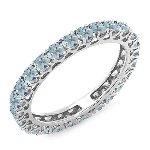 1.80 Carat (ctw) 14K White Gold Round Aquamarines Eternity Wedding Ring 1 3/4 CT (Size (Aquamarine White Gold Eternity Bands)