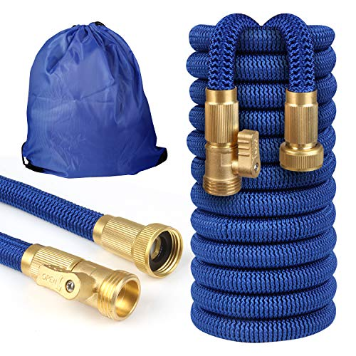 Garden Hose 50FT Expandable with 3/4″ Solid Brass Fittings,Triple Layer Latex Core & Extra Strength Fabric Wrapped Super Durable Flexible Water Hose with Portable Storage Bag a Nice Gift for Gardener