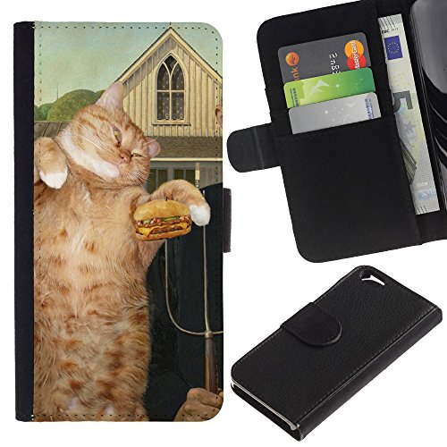 EuroCase - Apple Iphone 6 4.7 - painting hamburger cat art ginger red - Cuir PU Coverture Shell Armure Coque Coq Cas Etui Housse Case Cover