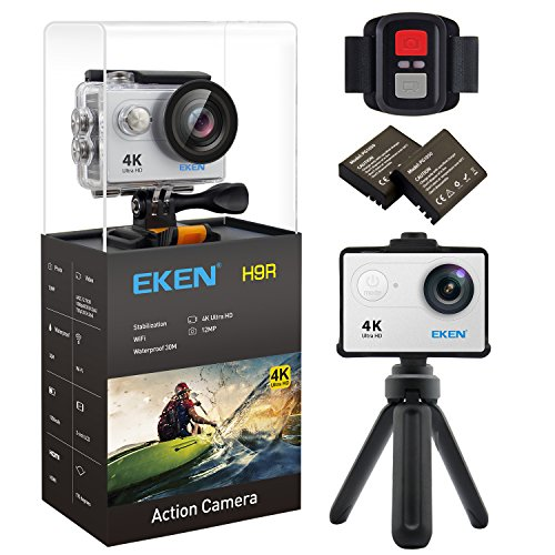 EKEN H9R 4K Action Camera, Full HD Wifi Waterproof Sports Camera with 4K/2.7K/ 1080P60/ 720P120fps Video, 12MP Photo and 170 Wide-Angle Lens, includes 11 Mountings Kit, 2 Batteries (Silver)