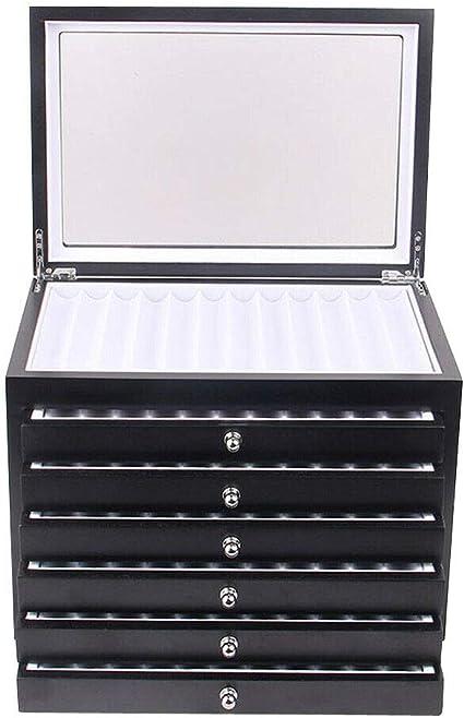 YIYIBY caja porta bolígrafos con vitrina Caja de almacenamiento para 6 capas 78 plumas estilográficas caja porta bolígrafos (negro): Amazon.es: Oficina y papelería