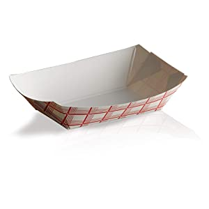 Disposable Paper Food Trays 2Lb-Heavy Duty, Grease Resistant 100 Pack. Durable, Ideal for Festival Holds Treats Like Hot Dogs, Fries, Nachos (REDCHECK)