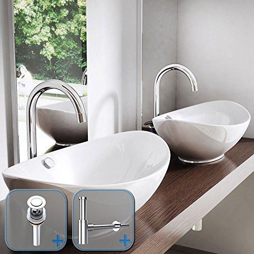Durovin modern oval bathroom sink white ceramic countertop cloakroom en suite wash basin contemporary designer 38 x 58 x 19cm (Basin + PU02 & S05)