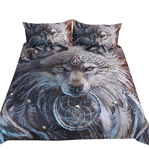 050a7be2d5 Feelyou Wolf Duvet Cover Set King Size Animal 3D Print Bedding Set for Men  Decorative Luxury