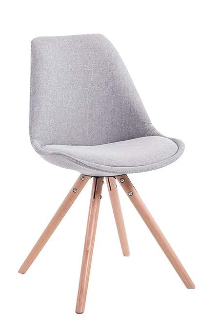 Besucherstuhl PEGLEG SQUARE weiß Stoff mit Lehne Konferenzstuhl Holz Küchenstuhl