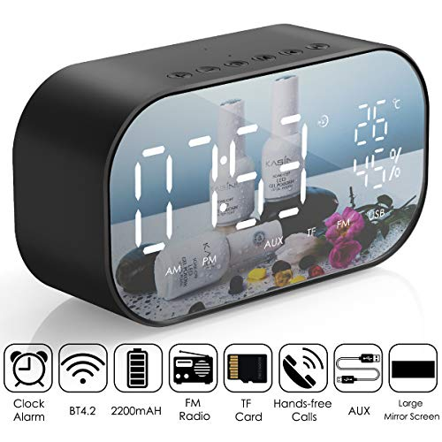 Alarm Clock Radio,Leyeet Wireless Bluetooth Speaker,USB Charger,TF Card Play, Thermometer, Large Mirror LED Dimmable Display AUX-in Function Hotel,Home,Office,Bedroom,Travel