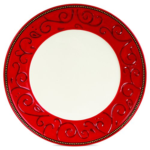 Fitz and Floyd Damask Holiday Collection Dinner Plate, Vintage Red & - Christmas Plates Fitz Floyd And