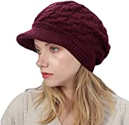 MUQU Knitted Hat with Visor - Women Winter Warm Beret Hat Slouchy Cable Beanie Hat Skullies