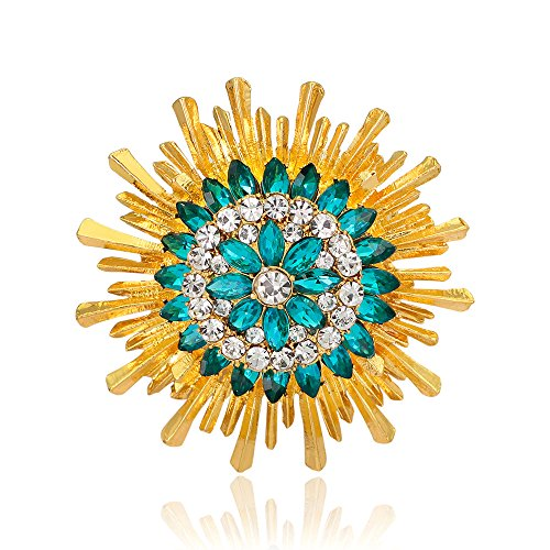 Ladies Fashion Sparkly Golden Plated Crystal Rhinestones Sunflower Brooch for Women Girls (Crystal Sunflower Brooch)