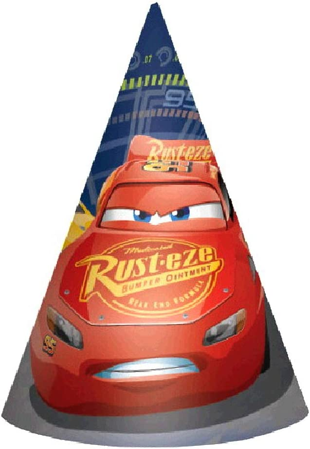 Pack Of 6 6 Paper Bright Red Disney Cars Formula Racer Birthday Party Paper Cone Hats Favour
