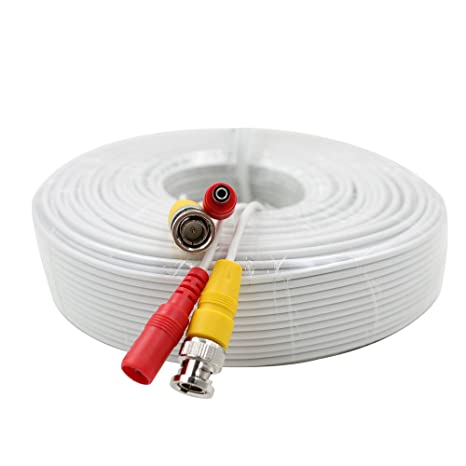 eSecure 125FT Professional Grade RG59 Siamese Combo Coaxial Cable Pre-made All-in-