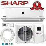 9000 Btu SHARP 22 SEER Ductless Mini Split DC Inverter Air Conditioner Heat Pump System - 208-230 Volt with Free Line Set