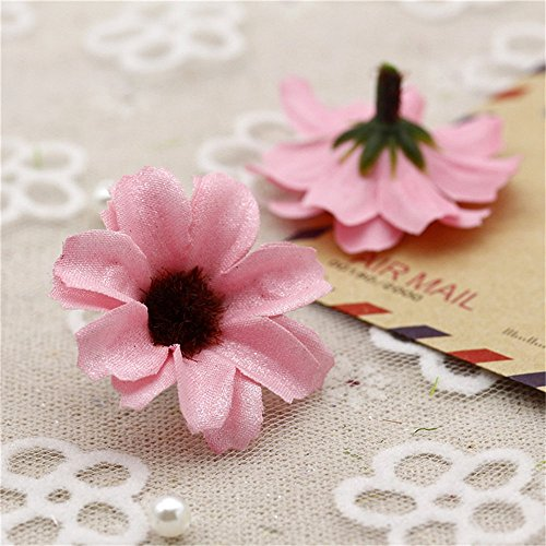 Silk Artificial Flowers Fake flowers heads Shiny Daisy Head For Wedding Home Decoration party festival Home Decor DIY Scrapbooking Chrysanthemum Accessories Fake Flower 50pcs ()
