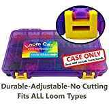 Loom Storage/Organizer/Case/Box - Fits ALL Loom Types , Pre-Assembled , Translucent Purple with Yellow Latches , 17 Adjustable Compartments , Superior Latches and Hinges - Made and Assembled in the U.S.A.