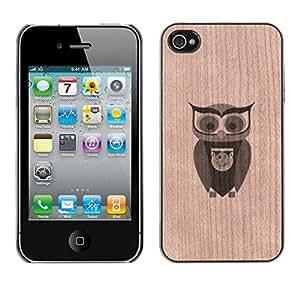 - / Owl Smart School Teacher Bird - - Funda Delgada Cubierta Case Cover de Madera / FOR Apple iPhone 4 4S 4G / Jordan Colourful Shop/
