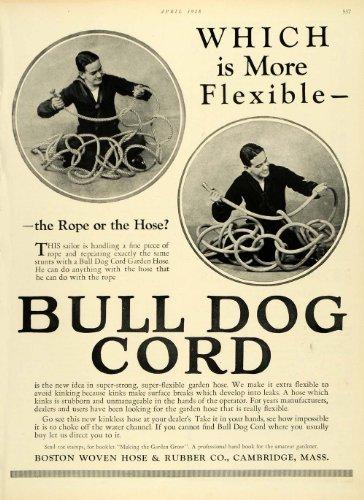 Cambridge Bulldog (1928 Ad Bull Dog Cord Boston Woven Hose Rubber Co Cambridge Rope Garden Supplies - Original Print Ad)