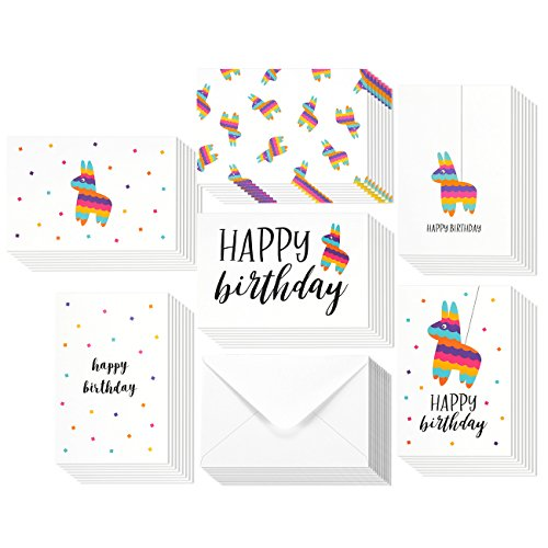 Classic Pinatas - Birthday Card - 48-Pack Birthday Cards Box Set, Happy Birthday Cards - Pinata Designs Birthday Card Bulk, Envelopes Included, 4 x 6 Inches