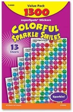 TEPT46909 Stickers, Colorful Sparkle Smiles, 1300 Stickers, Multi by TREND ENTERPRISES