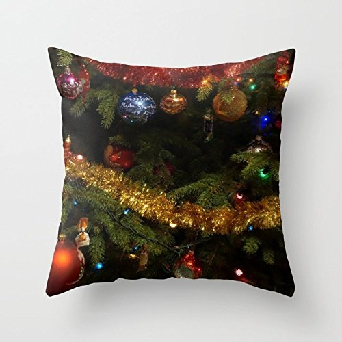 - SPXUBZ Colorful Christmas Tree Ornamental Ball Pillow Cover Decorative Home Decor Nice Gift Square Indoor/Outdoor Pillowcase Size: 22x22 Inch(Two Sides)